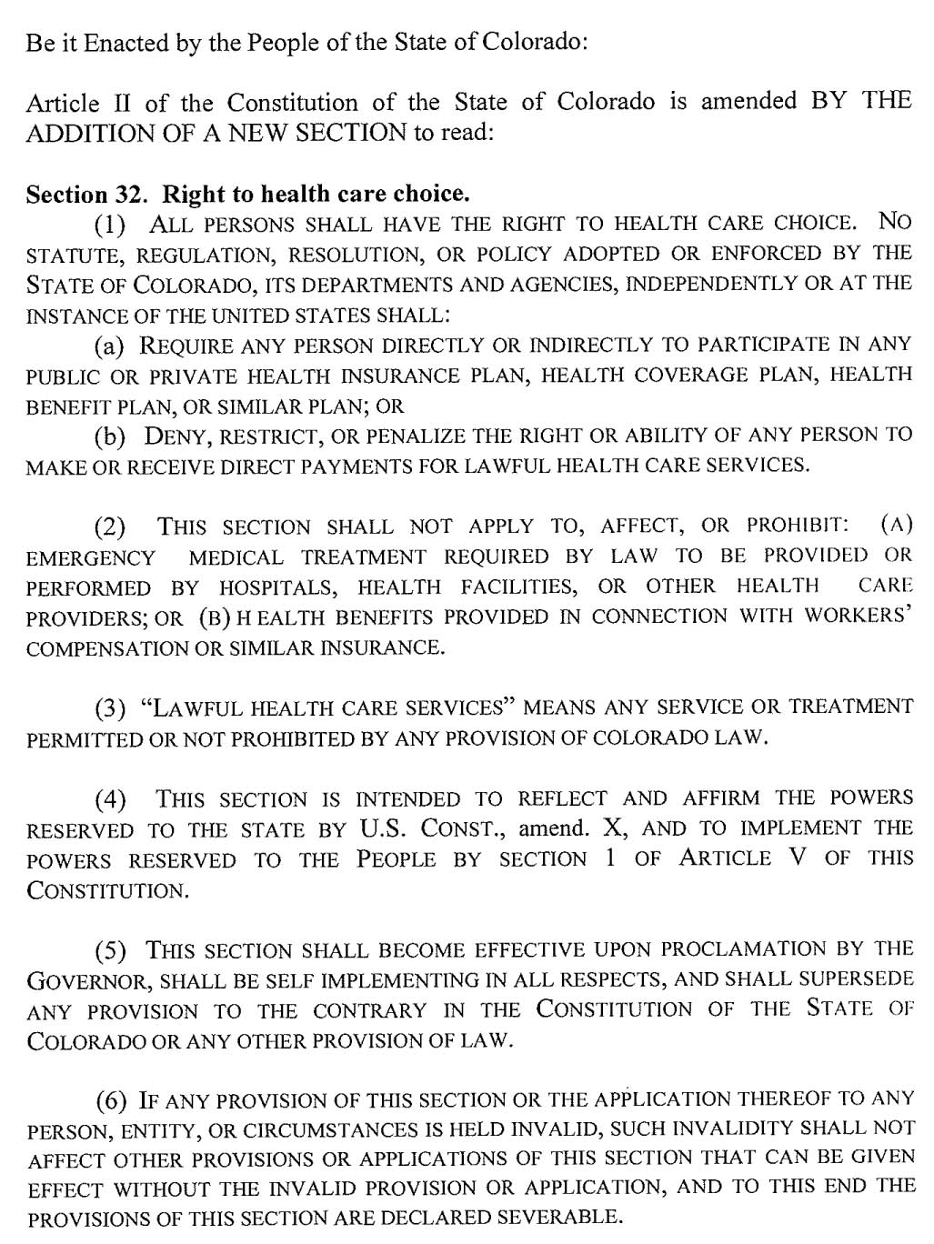 Amendment 63 - Right To Health Care Choice
