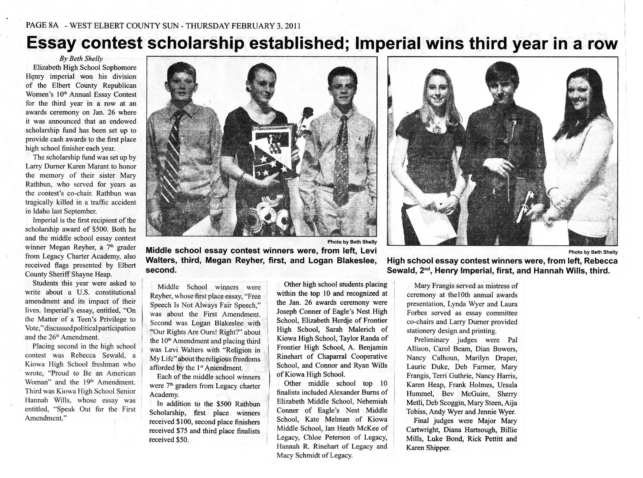 Charmant An Essay On Newspaper Fawmyipme Education U2013 Elbert County Forum Ecrw Essay  Contest