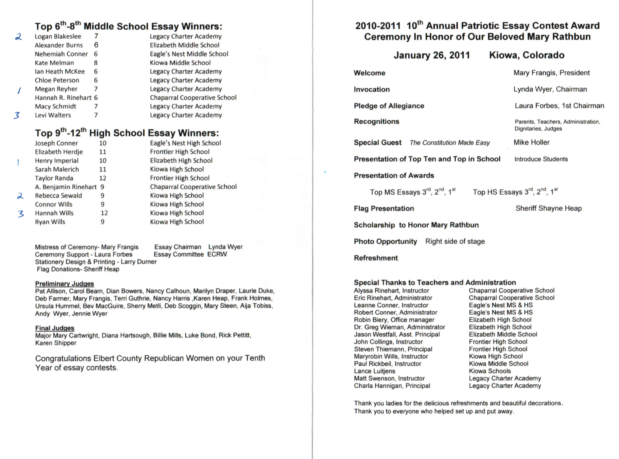 2011 ECRW Essay Contest Program