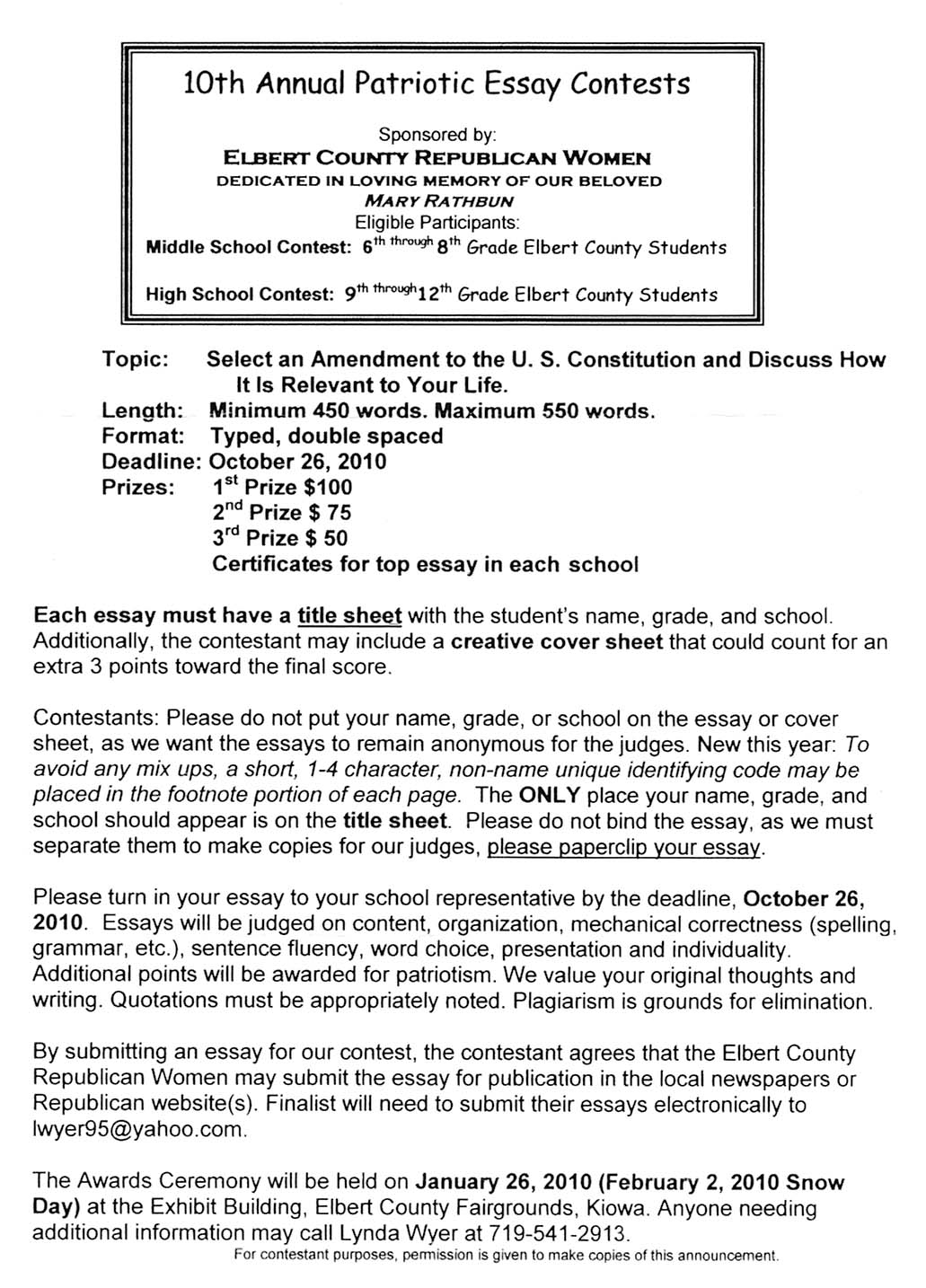 education elbert county forum 10th annual patiotic essay contest