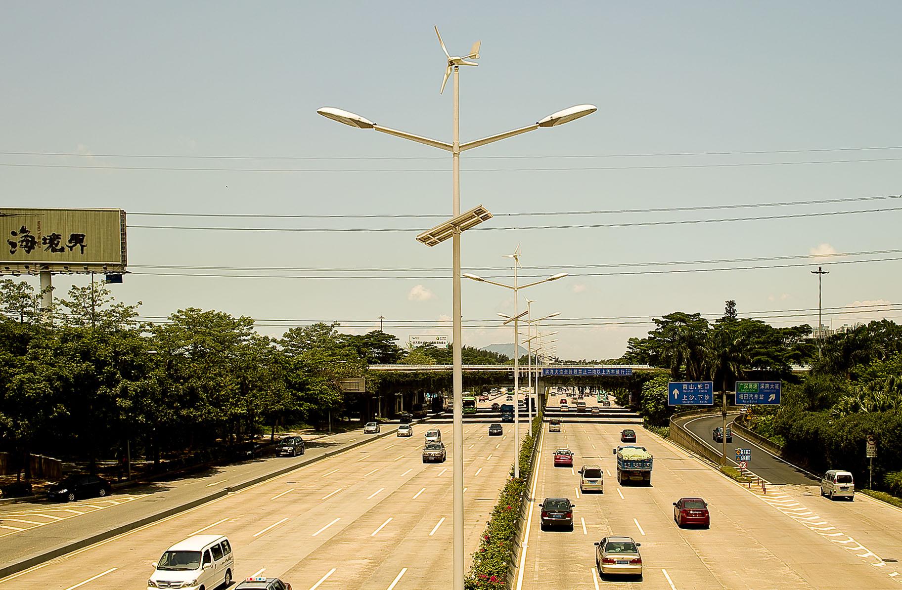 Renewable energy freeway lights
