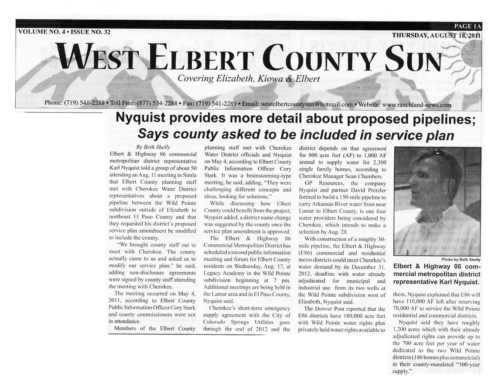 West Elbert County Sun 8-18-22 - Beth Shelly reporting