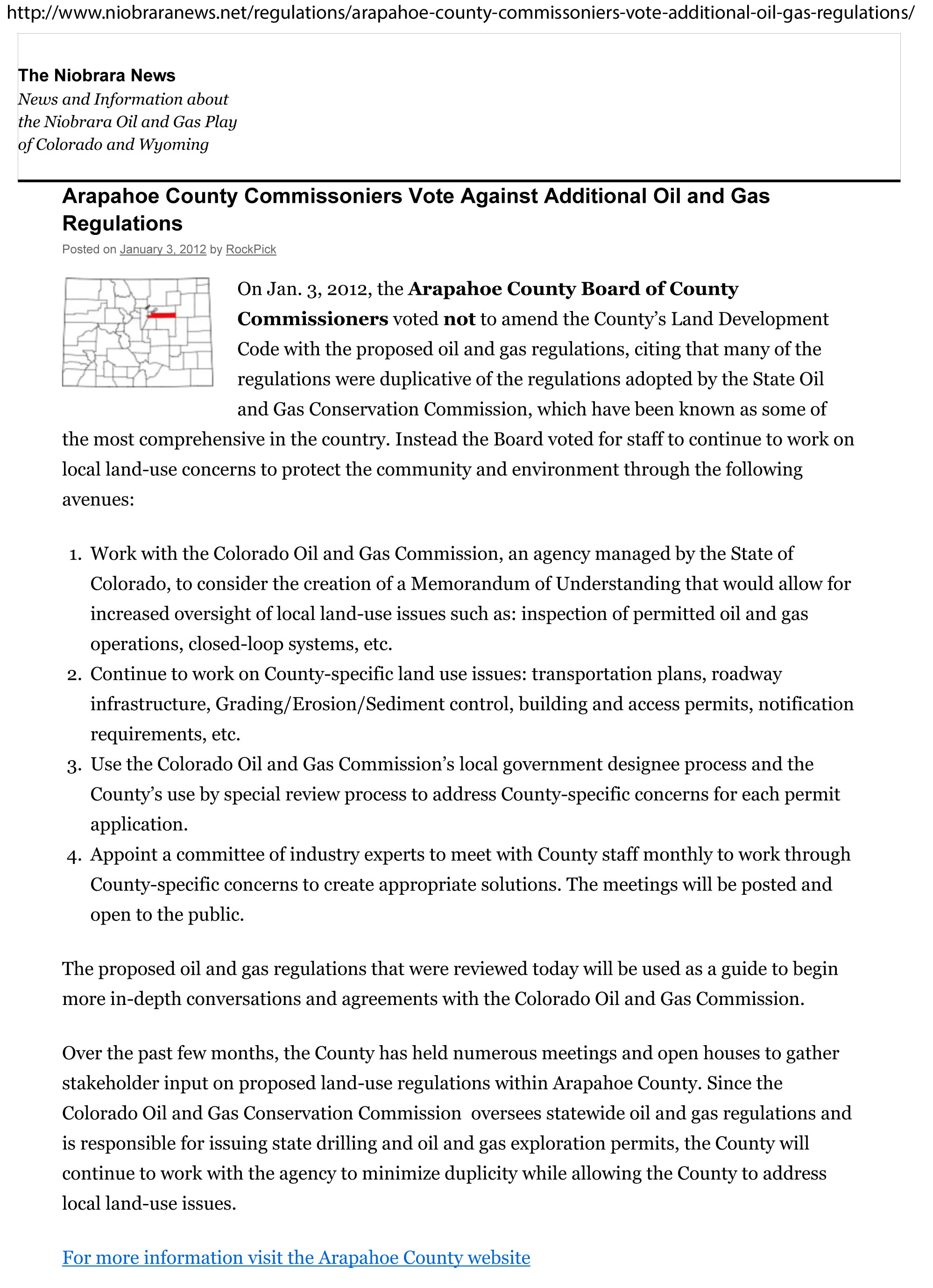 Arapahoe votes down additional oil and gas regs - 1/3/2012