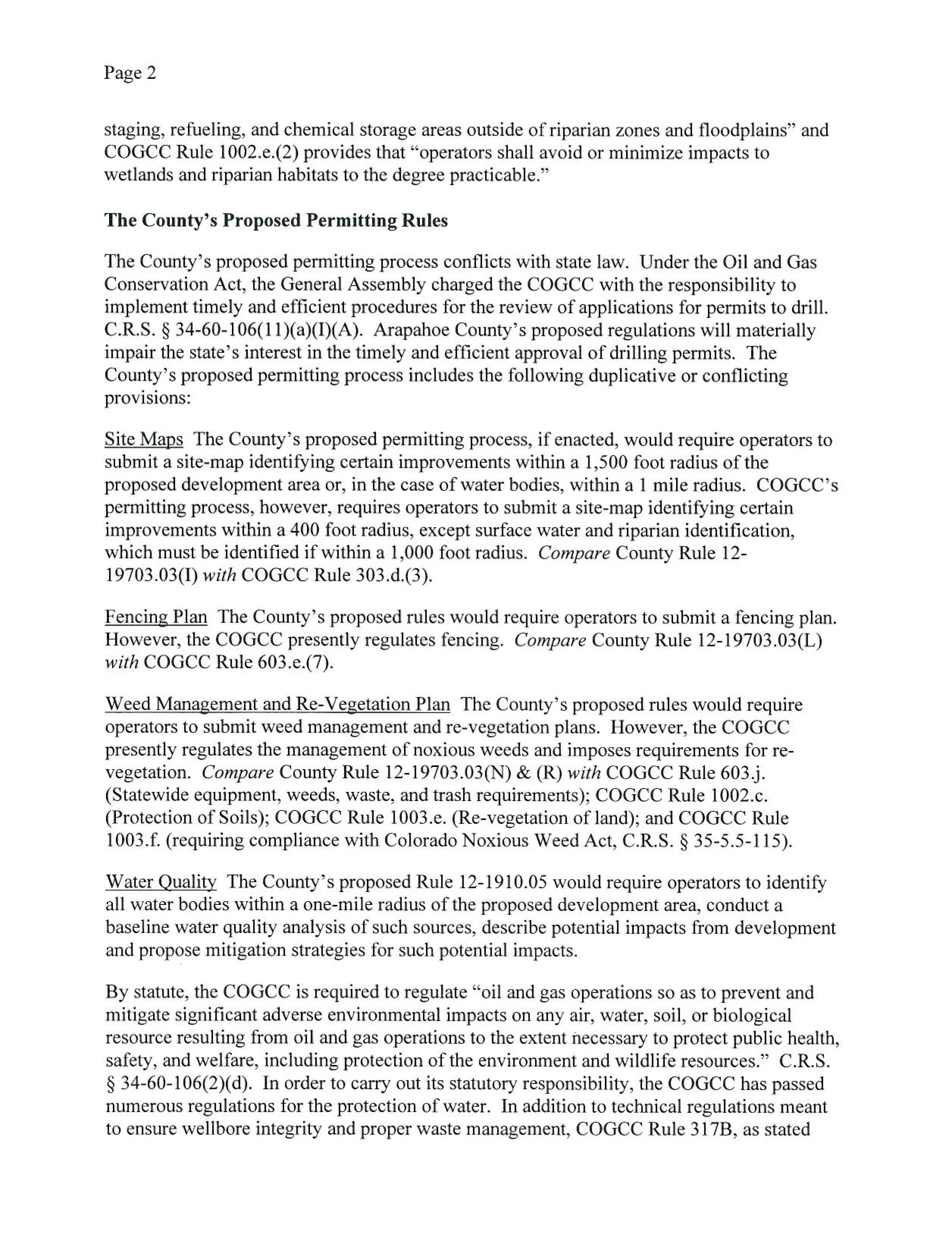 RE Arapahoe County's proposed oil and gas regulations page 2