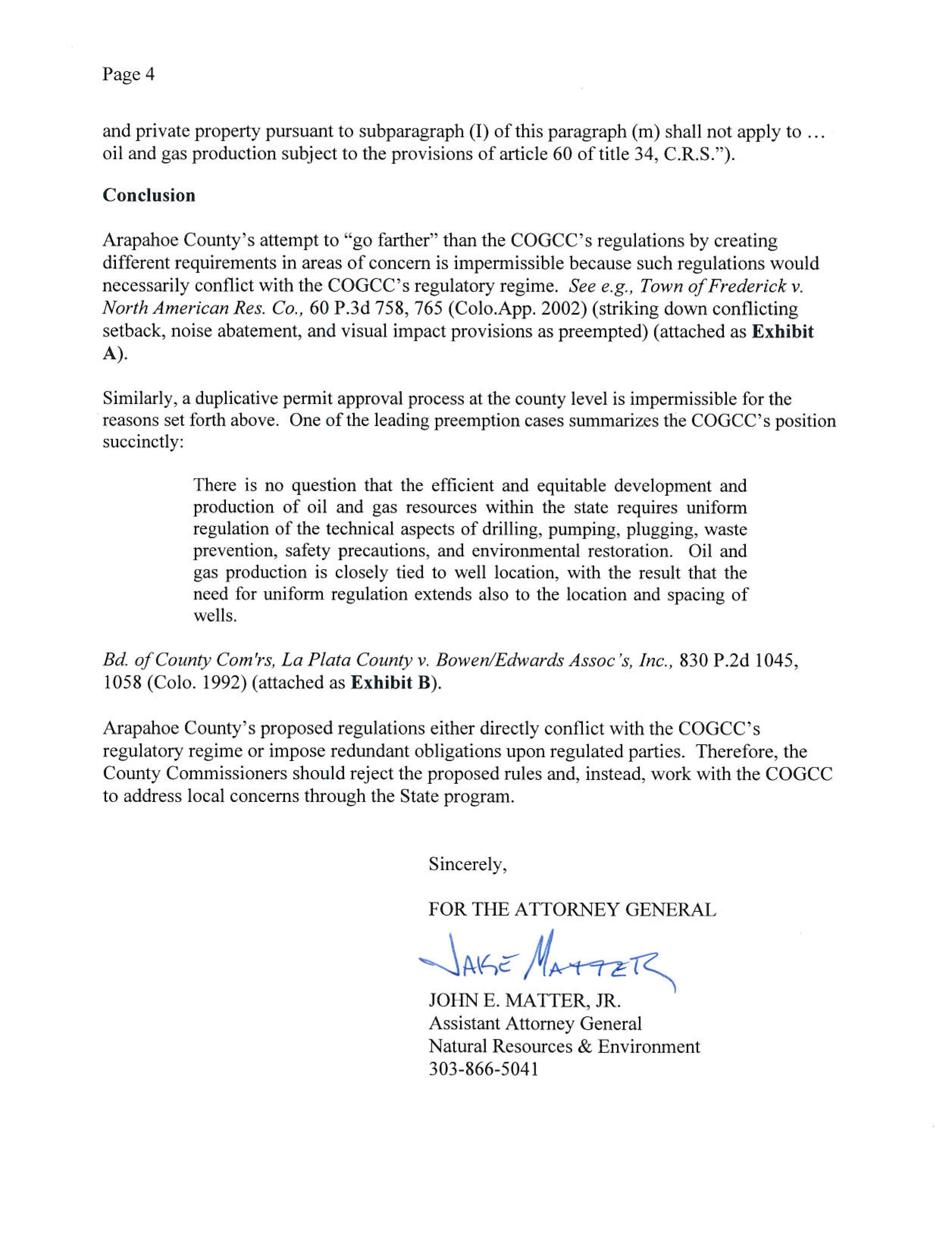 RE Arapahoe County's proposed oil and gas regulations page 4