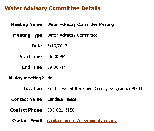 Water Advisory Committee Meeting