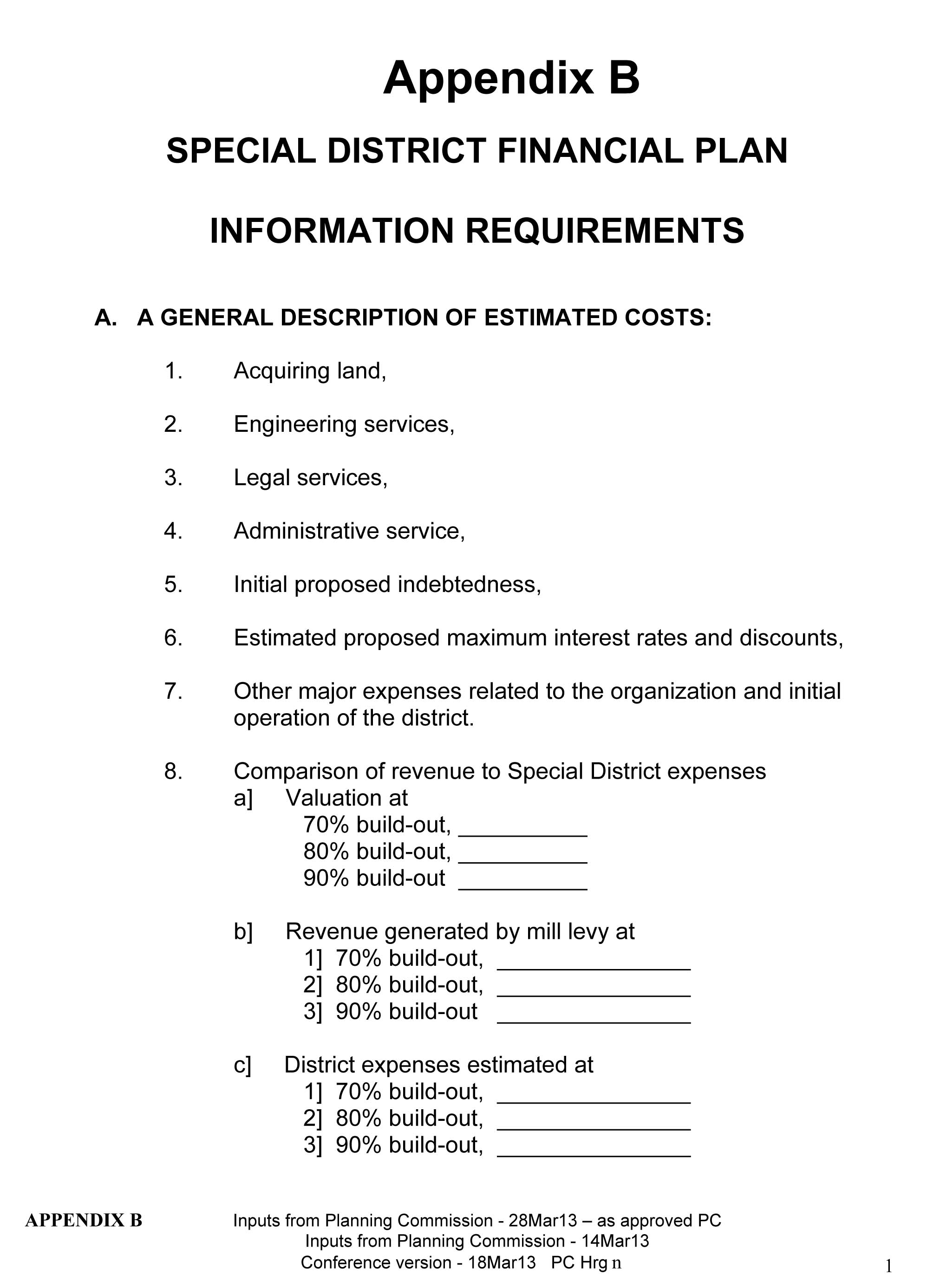 As approved by PC 130410 version xii Ric M _Draft Special District Reg_Conference Version of 10 Mar13_APPENDIX B_Financial Plan_3Apr13-1