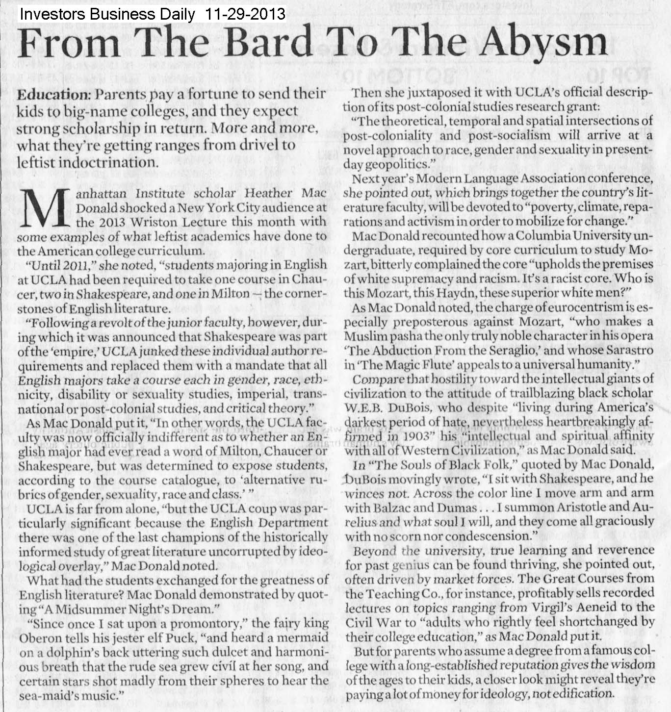 From The Bard To The Abysm