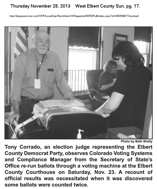 Tony Corrado Elbert County Election Judge